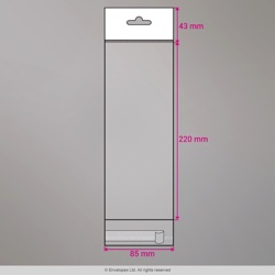 220x85 mm Sac transparent cellophane avec dispositif d'accrochage en rayon