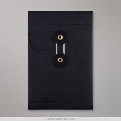 162x114x25 mm (C6) String & Washer Black Gusset Envelope