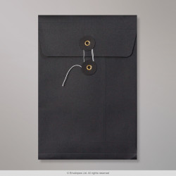 229x162x25 mm (C6) String & Washer Black Gusset Envelope