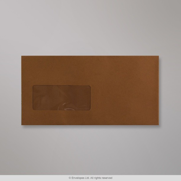 110x220 mm dl dark brown coloured window envelope for Window envelopes