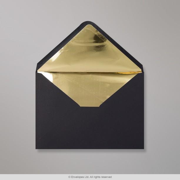 162x229 mm  c5  black envelope lined with gold foil