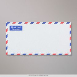 110x220 mm (DL) White Airmail Chevron Border Envelope, White, Gummed