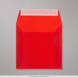 160x160 mm Red Translucent Envelope, Red, Peel and Seal