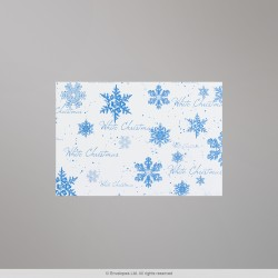 114x162 mm (C6) White Christmas Card Envelope With Blue Snow Flakes