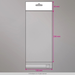 230x120 mm Clear Cello Bag with Header & Euroslot, Clear, Peel and Seal