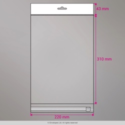 310x220 mm Clear Cello Bag with Header & Euroslot, Clear, Peel and Seal
