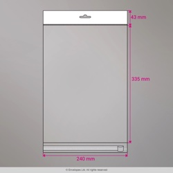 335x240 mm Sac transparent cellophane avec dispositif d'accrochage en rayon
