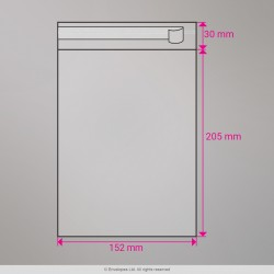 205x152 mm Clear Cello Bag