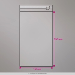 260x155 mm Clear Cello Bag