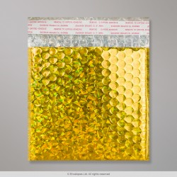 165x165 mm Holographic Gold Metallic Bubble Bag