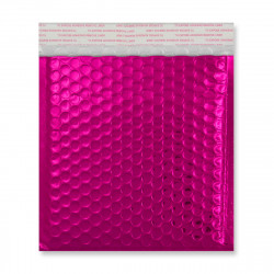 165x165 mm Hot Pink Gloss Metallic Bubble Bag