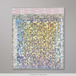 165x165 mm Silver Holographic Gloss Metallic Bubble Bag