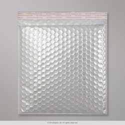 230x230 mm Silver Gloss Metallic Bubble Bag, Silver, Peel and Seal