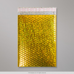 324x230 mm Holographic Gold Metallic Bubble Bag