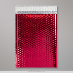 324x230 mm (C4) Red Gloss Metallic Bubble Bag, Red, Peel and Seal