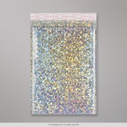 324x230 mm (C4) Silver Holographic Gloss Metallic Bubble Bag