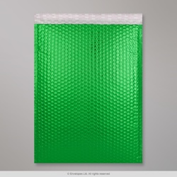450x320 mm (C3) Green Gloss Metallic Bubble Bag, Green, Peel and Seal