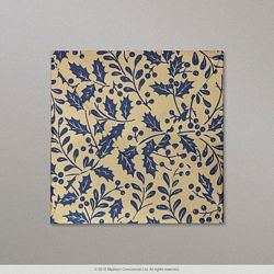 130x130 mm Gold Blue Leaf Mirror Finish Envelope