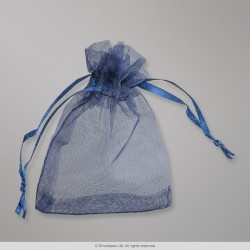 90x70 mm Navy Blue Organza Bag