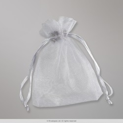 90x70 mm Silver Grey Organza Bag