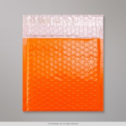 165x165 mm Orange Poly Gloss Bubble Bag