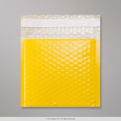 165x165 mm Yellow Poly Gloss Bubble Bag, Yellow, Peel and Seal