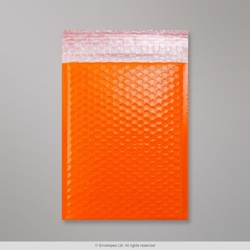250x180 mm Orange Poly Gloss Bubble Bag