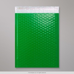 340x240 mm Green Poly Gloss Bubble Bag