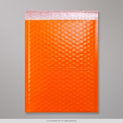340x240 mm Orange Poly Gloss Bubble Bag