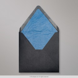 160x160 mm Black Envelope Lined With Blue Fancy Paper