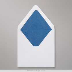 160x160 mm White Envelope Lined With Blue Fancy Paper
