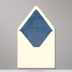 160x160 mm Ivory Envelope Lined With Blue Fancy Paper