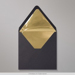 160x160 mm Black Envelope Lined With Gold Foil