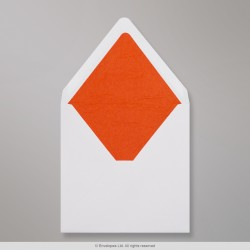 160x160 mm White Envelope Lined With Orange Fancy Paper