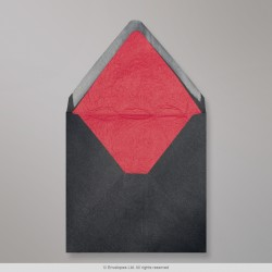 160x160 mm Black Envelope Lined With Red Fancy Paper