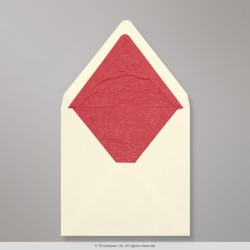 160x160 mm Ivory Envelope Lined With Red Fancy Paper