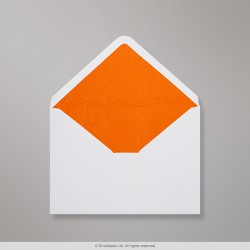 62x94 mm White Envelope Lined With Orange Fancy Paper