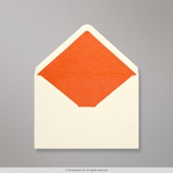 62x94 mm Ivory Envelope Lined With Orange Fancy Paper