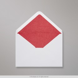 162x229 mm (C5) White Envelope Lined With Red Fancy Paper, White + Red Fancy Paper, Gummed