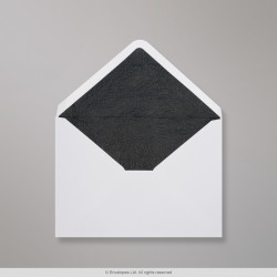 114x162 mm (C6) White Envelope Lined With Black Fancy Paper