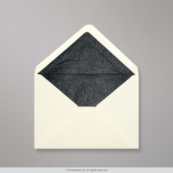114x162 mm (C6) Ivory Envelope Lined With Black Fancy Paper