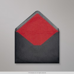 114x162 mm (C6) Black Envelope Lined With Red Fancy Paper