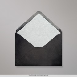 114x162 mm (C6) Black Envelope Lined With White Fancy Paper