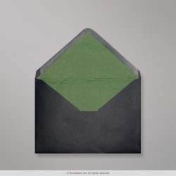 82x113 mm (C7) Black Envelope Lined With Green Fancy Paper