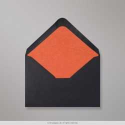 82x113 mm (C7) Black Envelope Lined With Orange Fancy Paper
