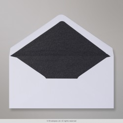 110x220 mm (DL) White Envelope Lined With Black Fancy Paper