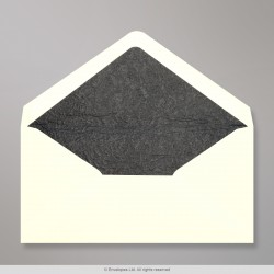110x220 mm (DL) Ivory Envelope Lined With Black Fancy Paper