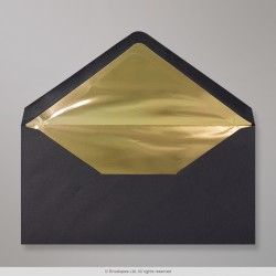 110x220 mm (DL) Black + Gold Foil  Lined Envelope
