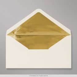 110x220 mm (DL) Ivory Envelope Lined With Gold Foil