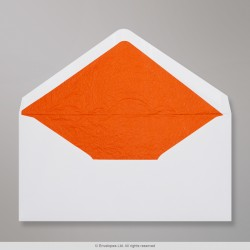 110x220 mm (DL) White Envelope Lined With Orange Fancy Paper